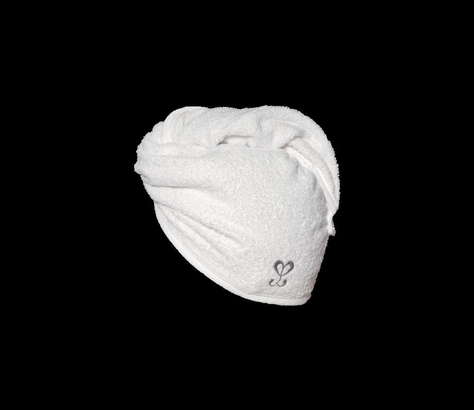 Biały turban do włosów z logotypem Creamy.
